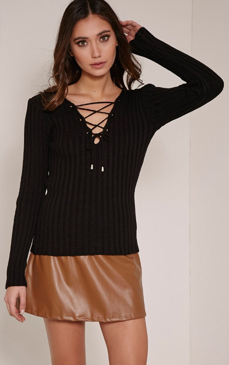 Dalya Black Lace Up V Jumper 1