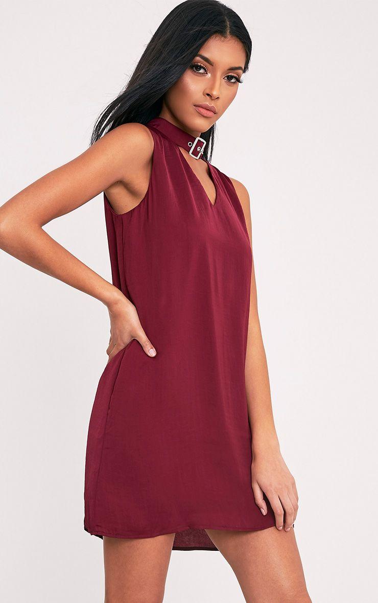 Kumari Burgundy Buckle Detail Satin Shift Dress