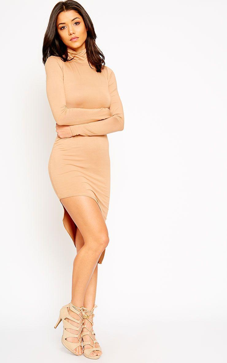 Ricky Camel High Neck Jersey Dress 1