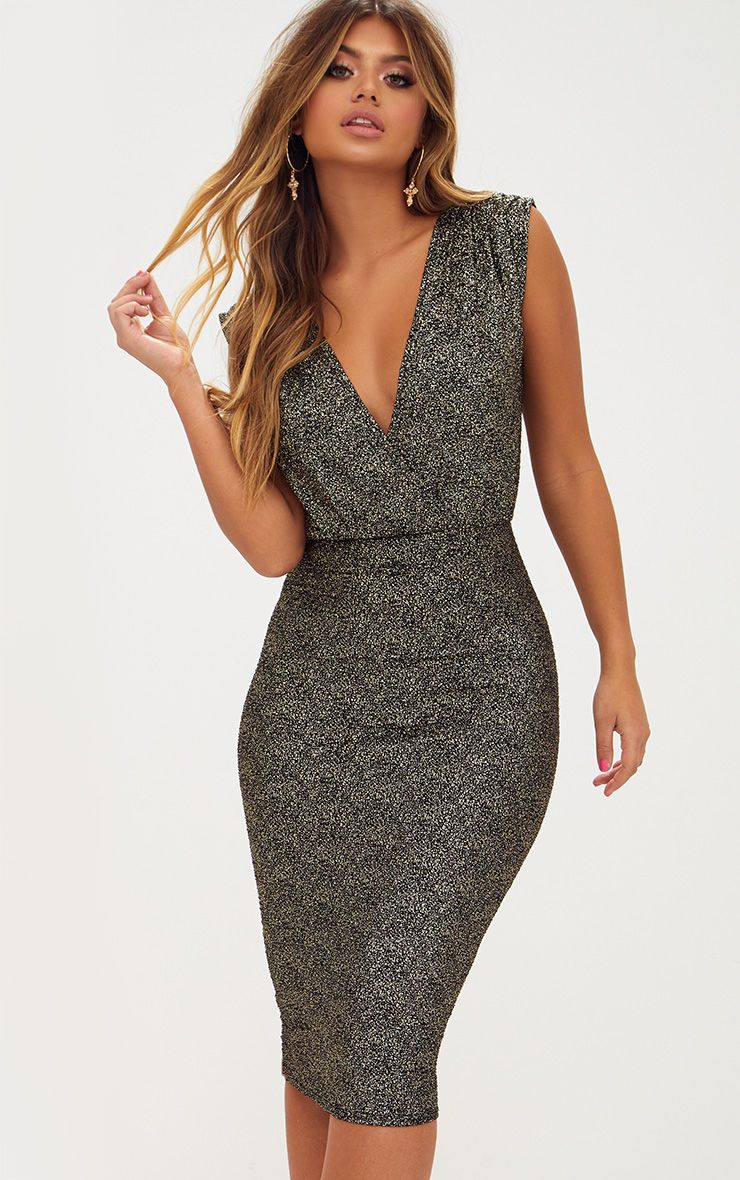 Gold Metalic Speckle Plunge Midi Dress