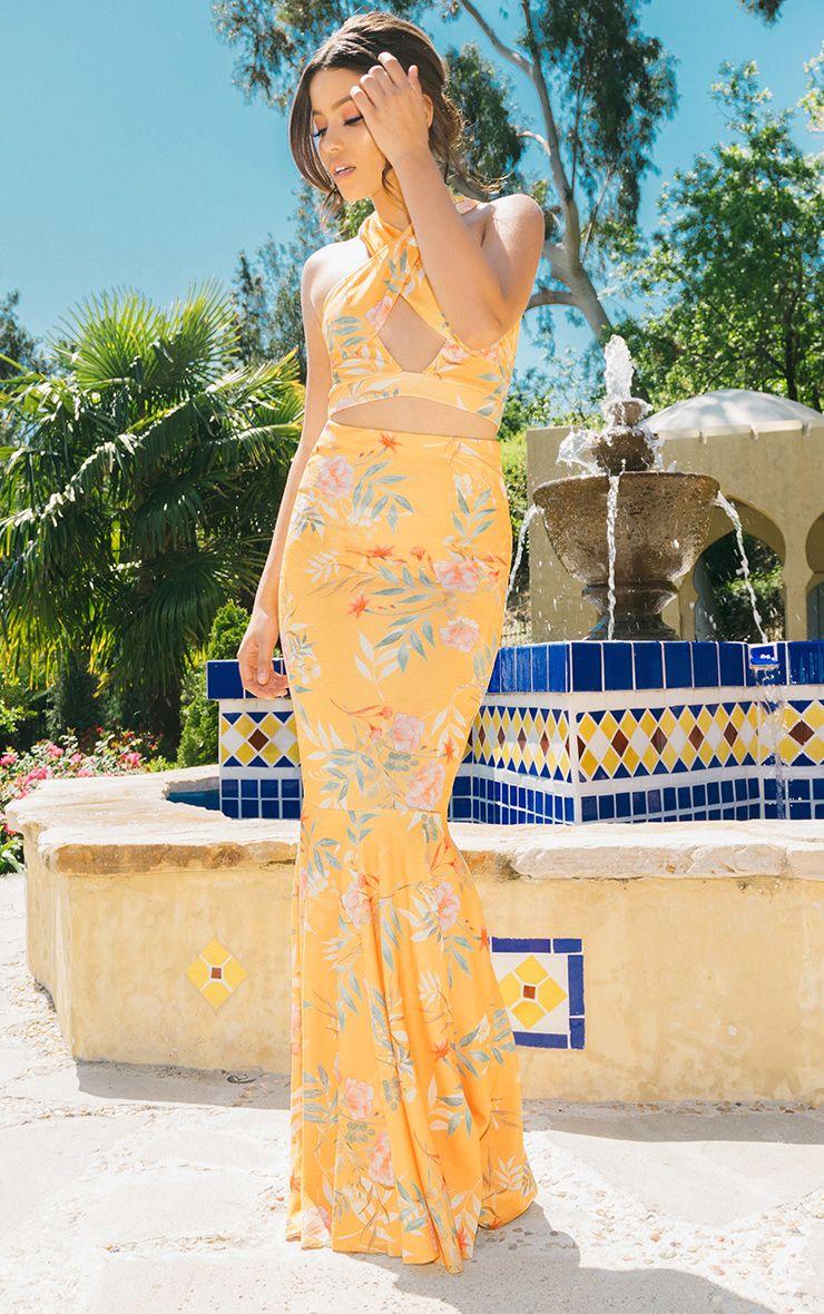 Orange Tropical Print Fishtail Maxi Skirt