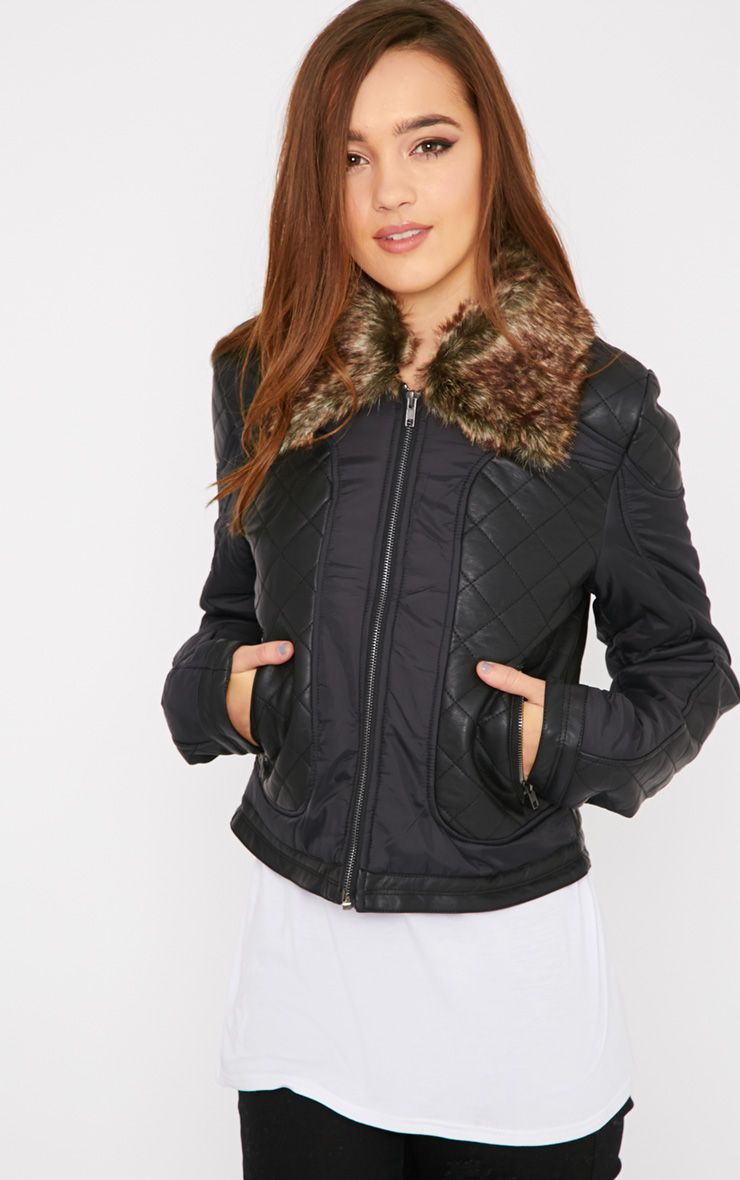Mika Black Quilted Jacket with Fur Collar  1