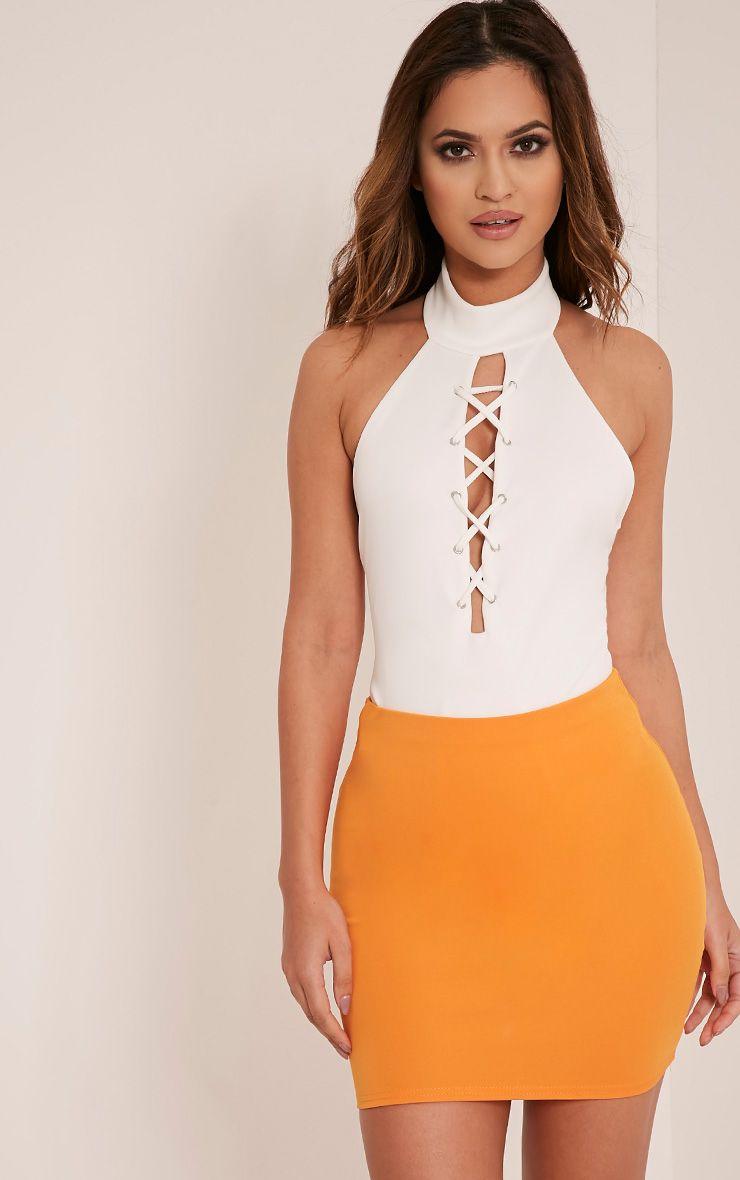 Milah Bright Orange Scuba Mini Skirt 1