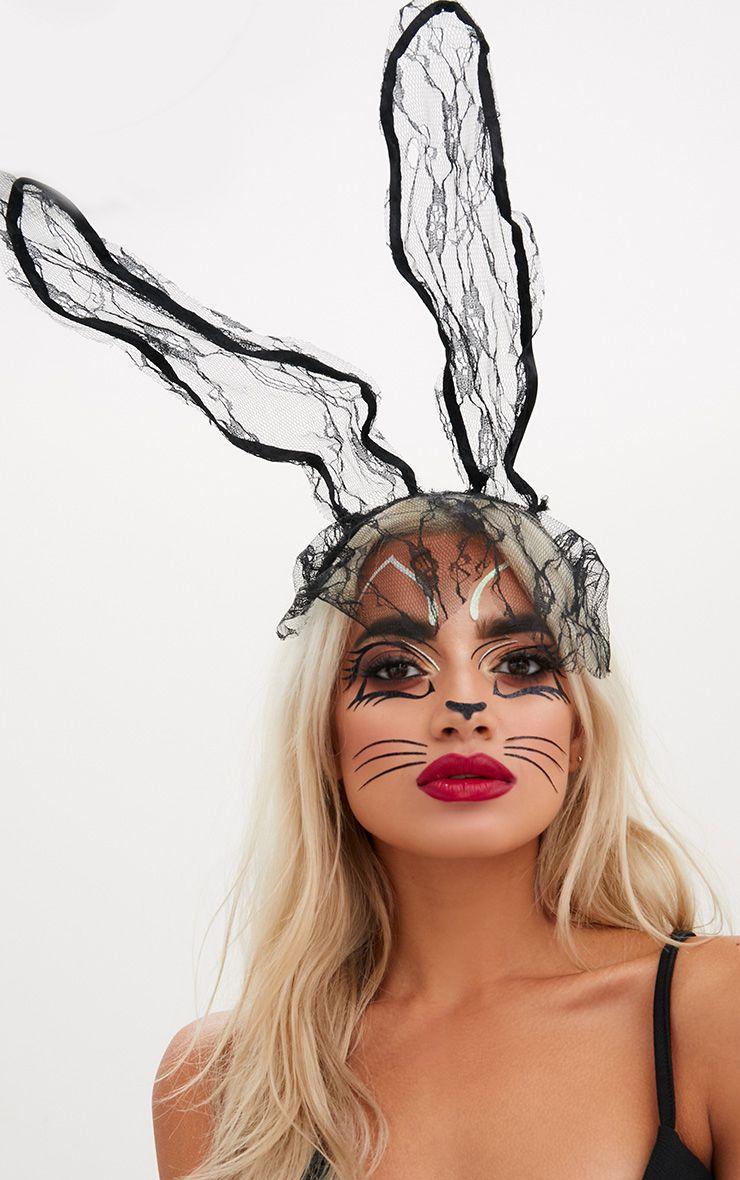 Black Lace Veil Bunny Ears
