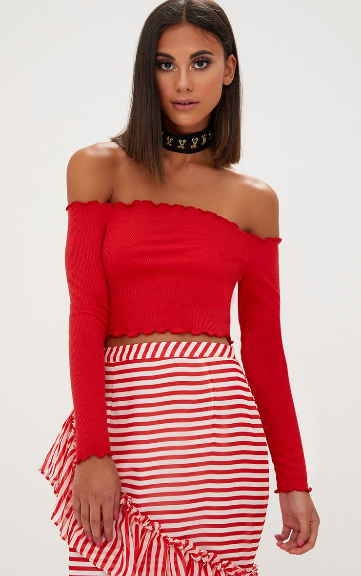 Red Frill Edge Crop Top 1