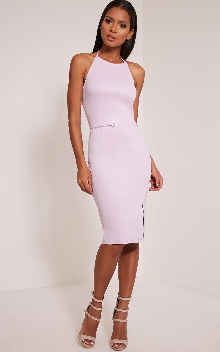 Lottie Mauve Zip Detail Midi Dress 1