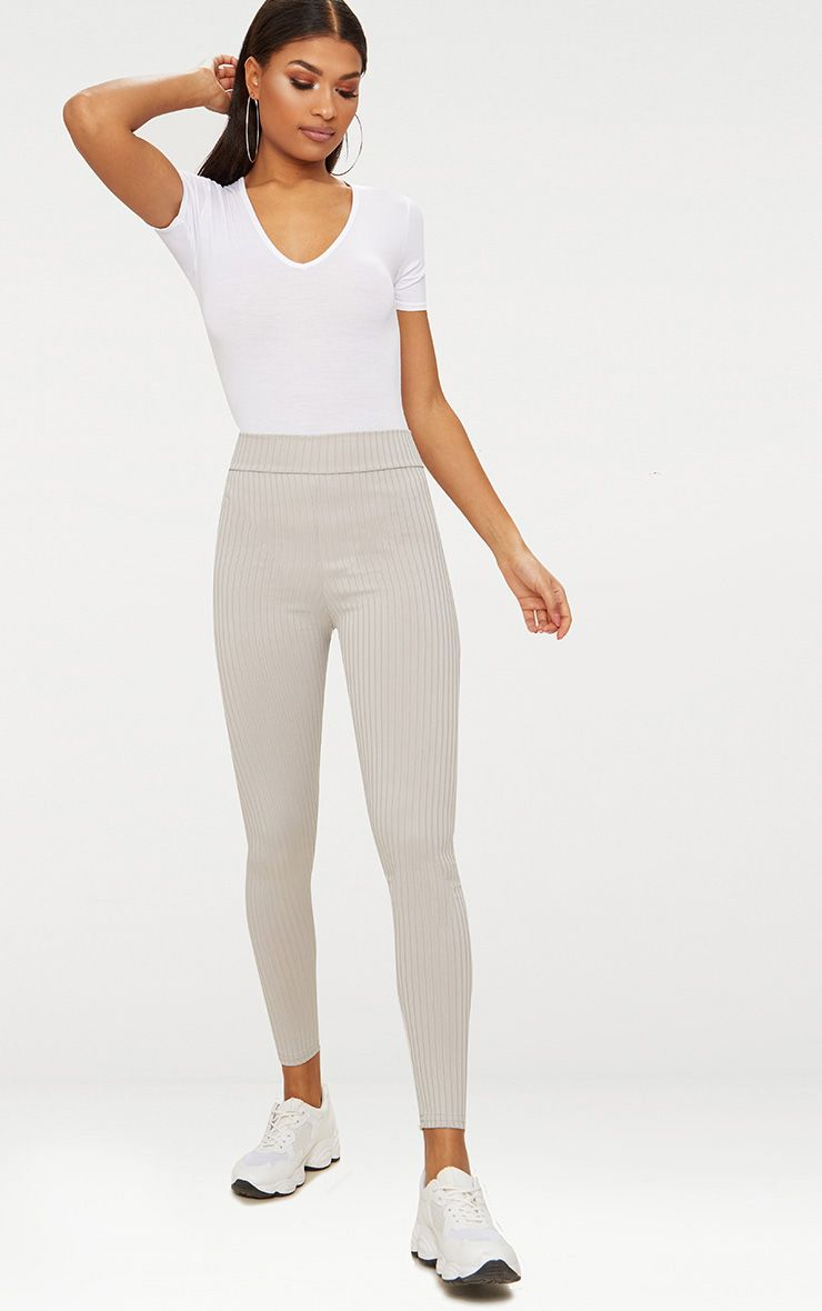 Harlie Grey Ribbed High Waisted Leggings 1