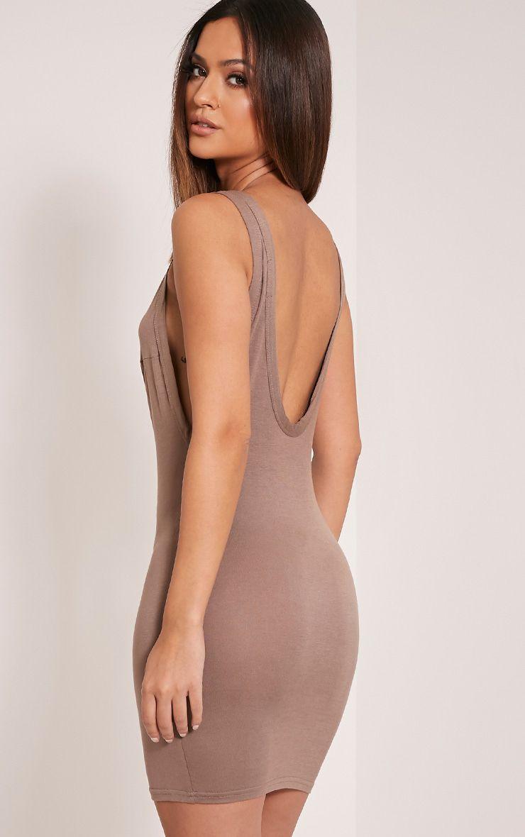 Basic Taupe Drop Armhole Bodycon Dress 1