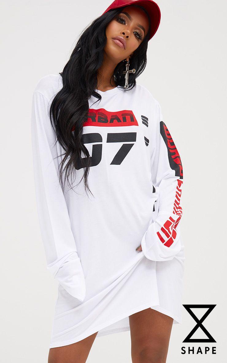 Shape White Graphic Long Sleeve Dress