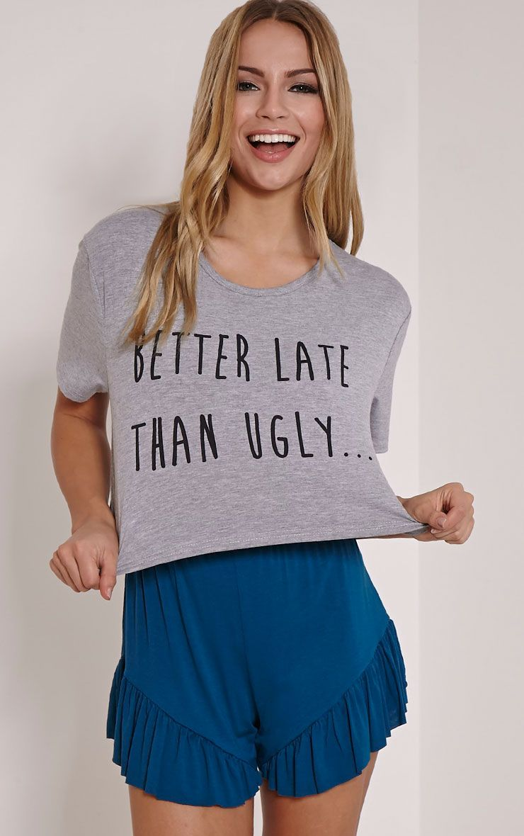 Better Late Than Ugly Teal Frill Short Pyjama Set 1
