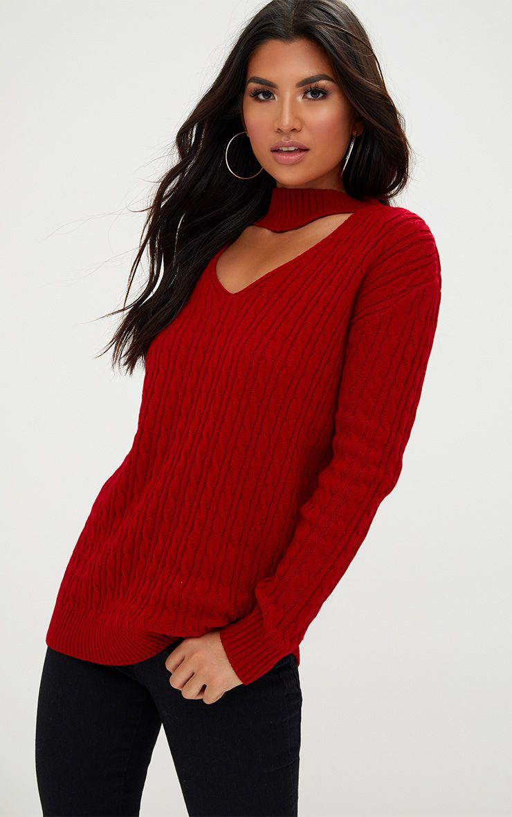 Red Choker Knitted Jumper