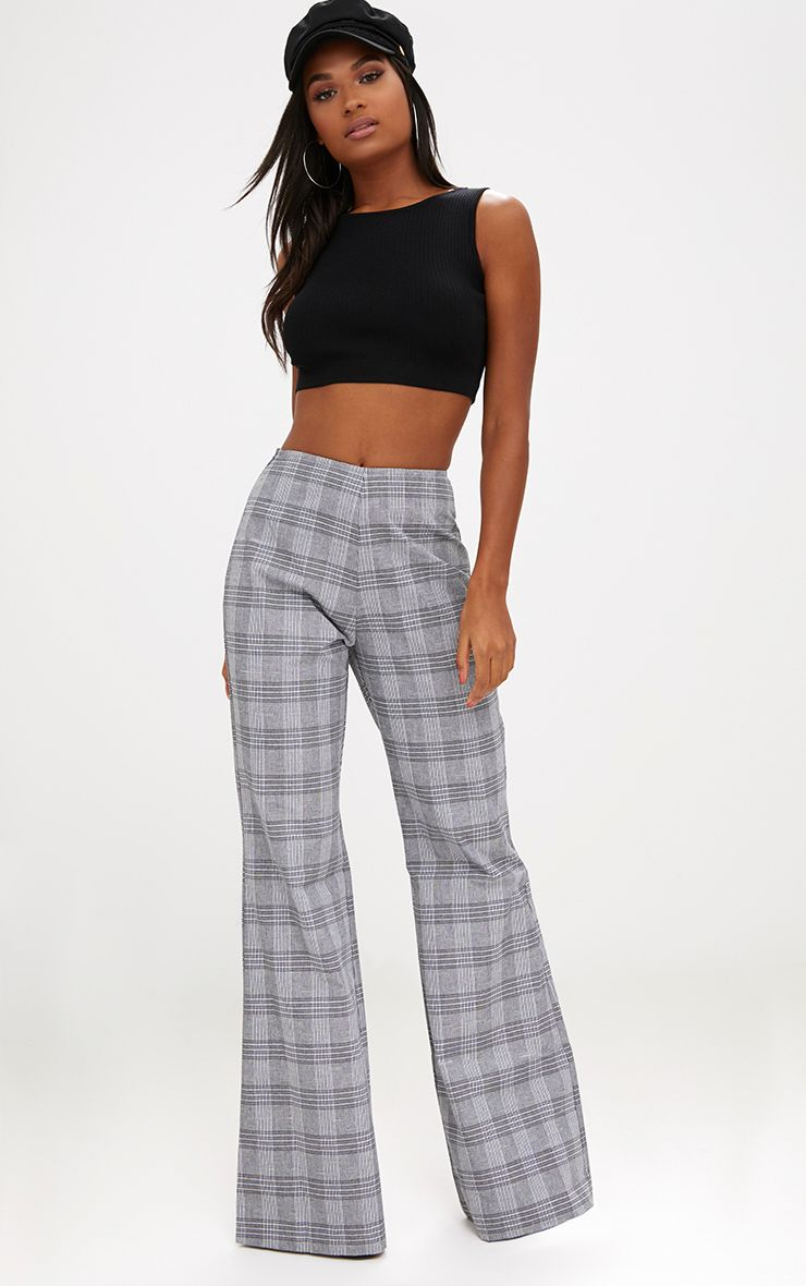 Grey Check Tailored Wide Leg Trousers