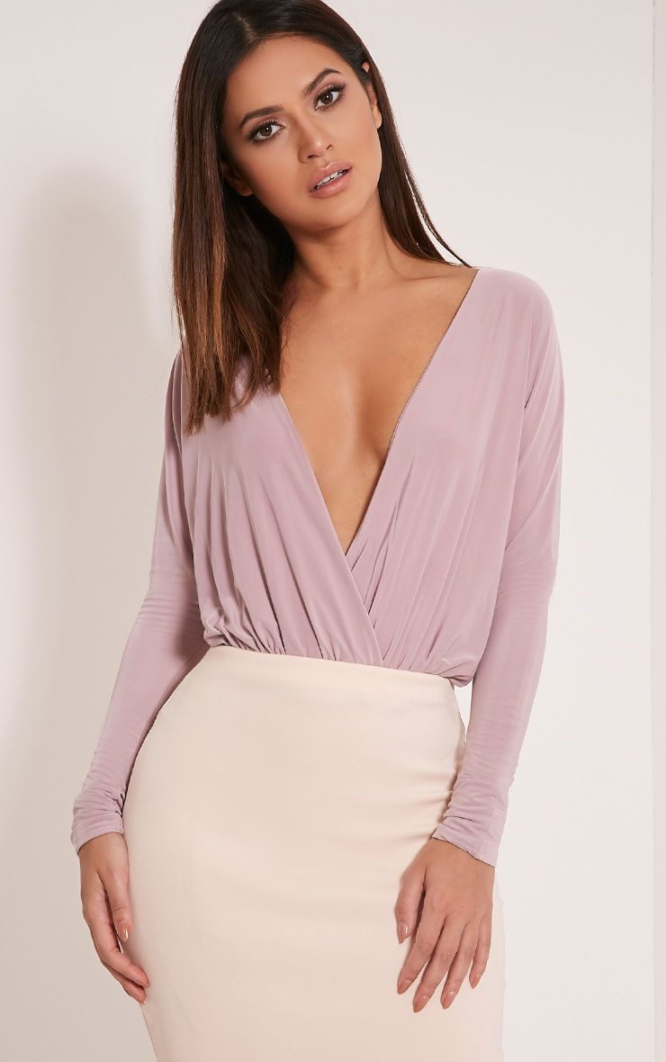 Talia Mauve Long Sleeve Cross Front Bodysuit 1