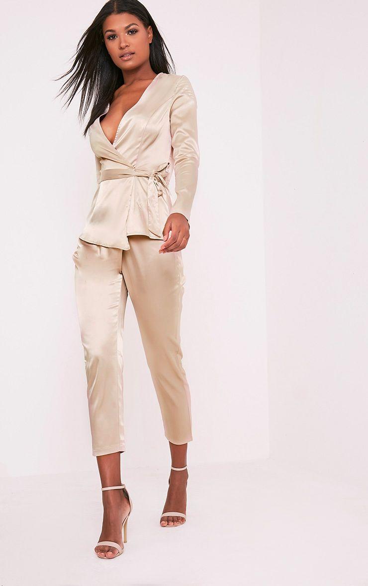 Sanciah Champagne Satin Wrap Trousers 1