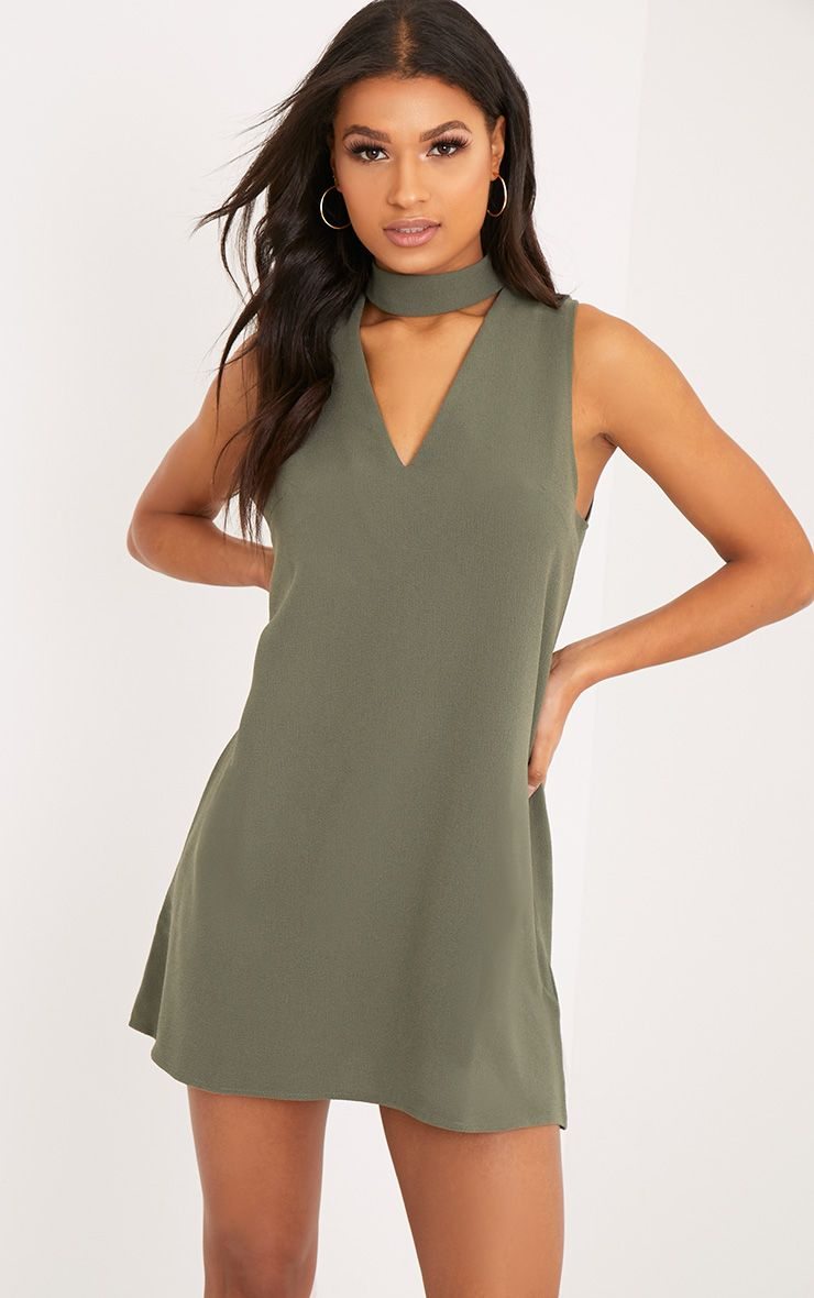 Cinder Khaki Choker Detail Loose Fit Dress