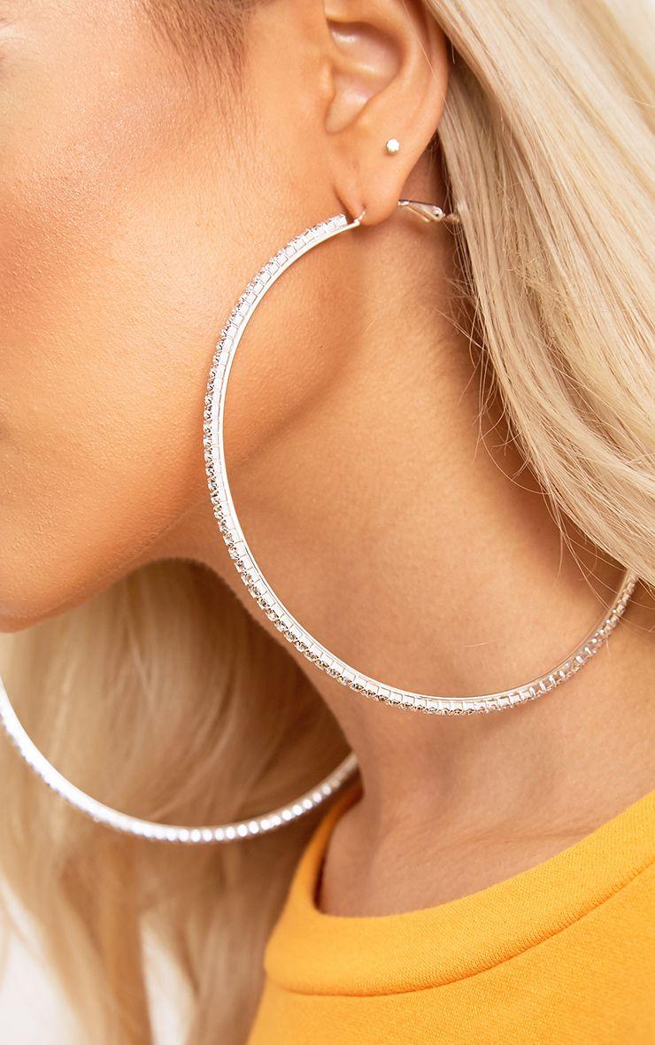 Silver Oversized Diamante Hoop Earrings