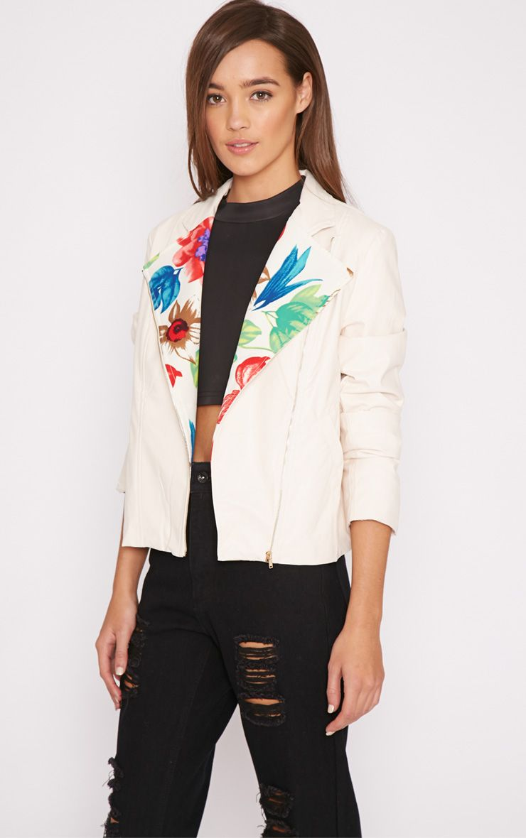 Alanya Cream Floral Lined Biker Jacket  1