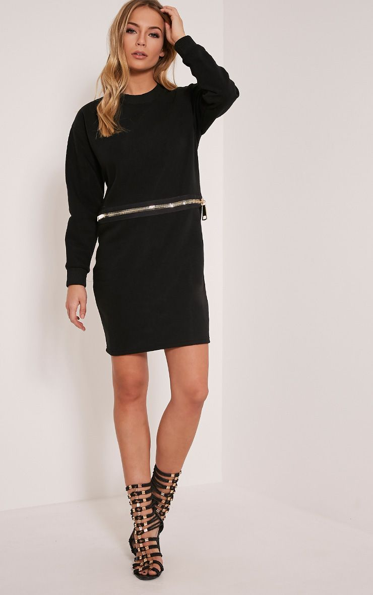 Etty Black Long Sleeve Zip Detail Jumper Dress 1