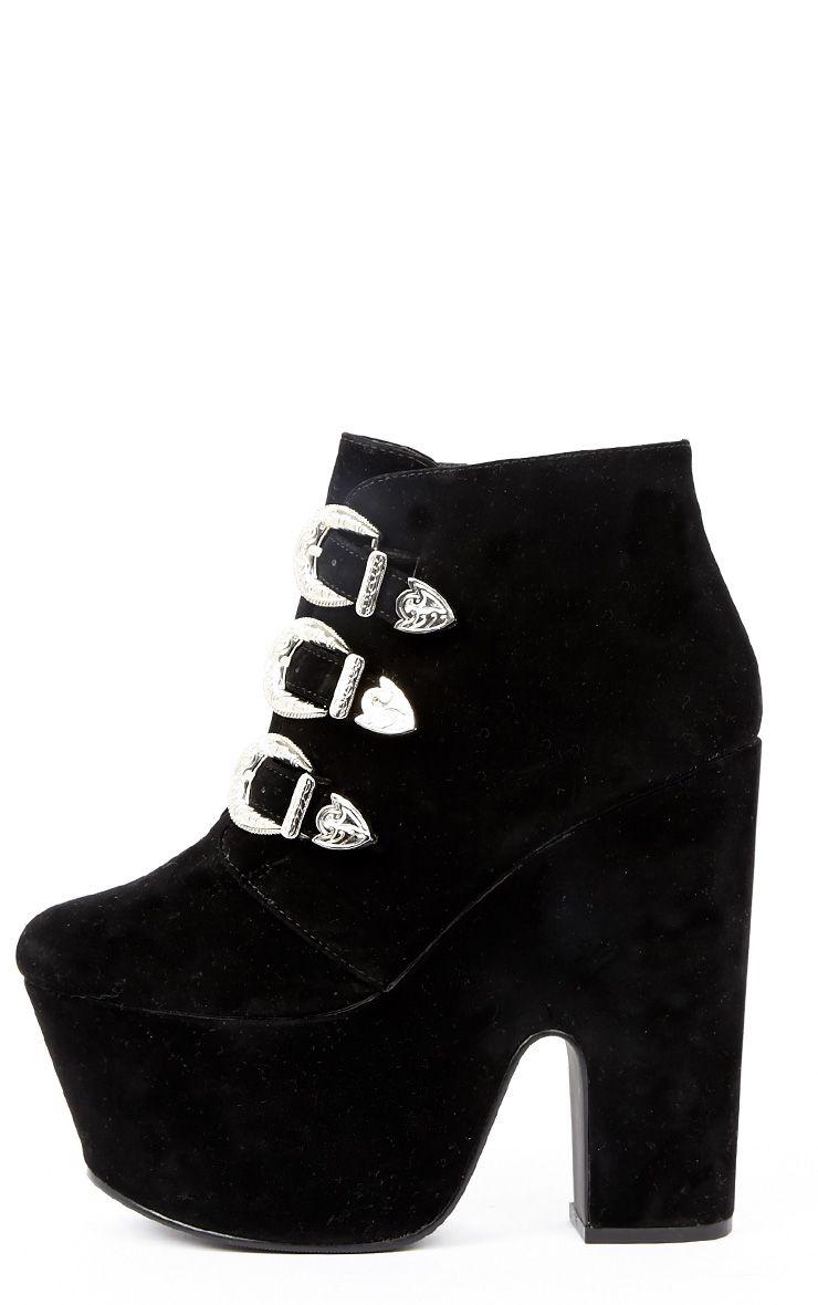 Skylar Black Suede Platform Boots 1