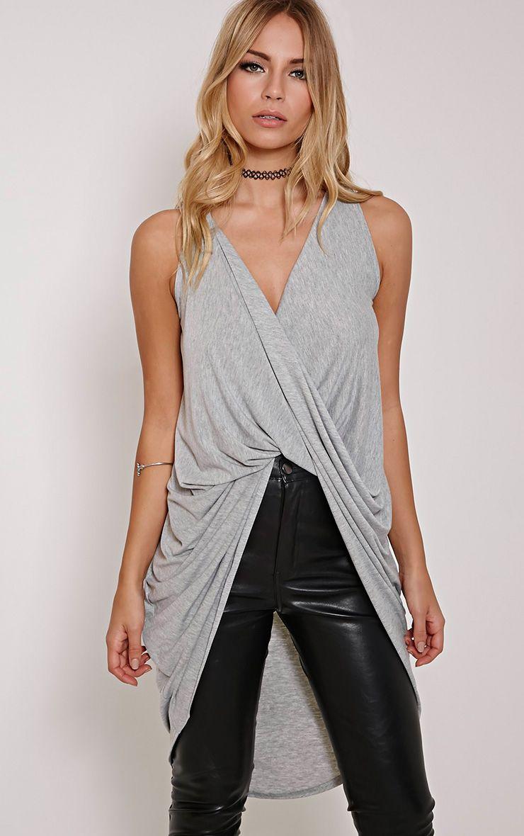 Brea Grey Long Twist Front Sleeveless Top 1
