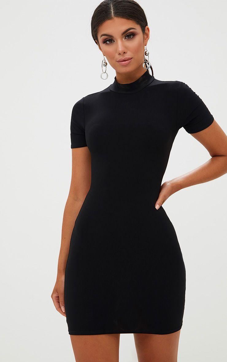 Black High Neck Tie Back Bodycon Dress