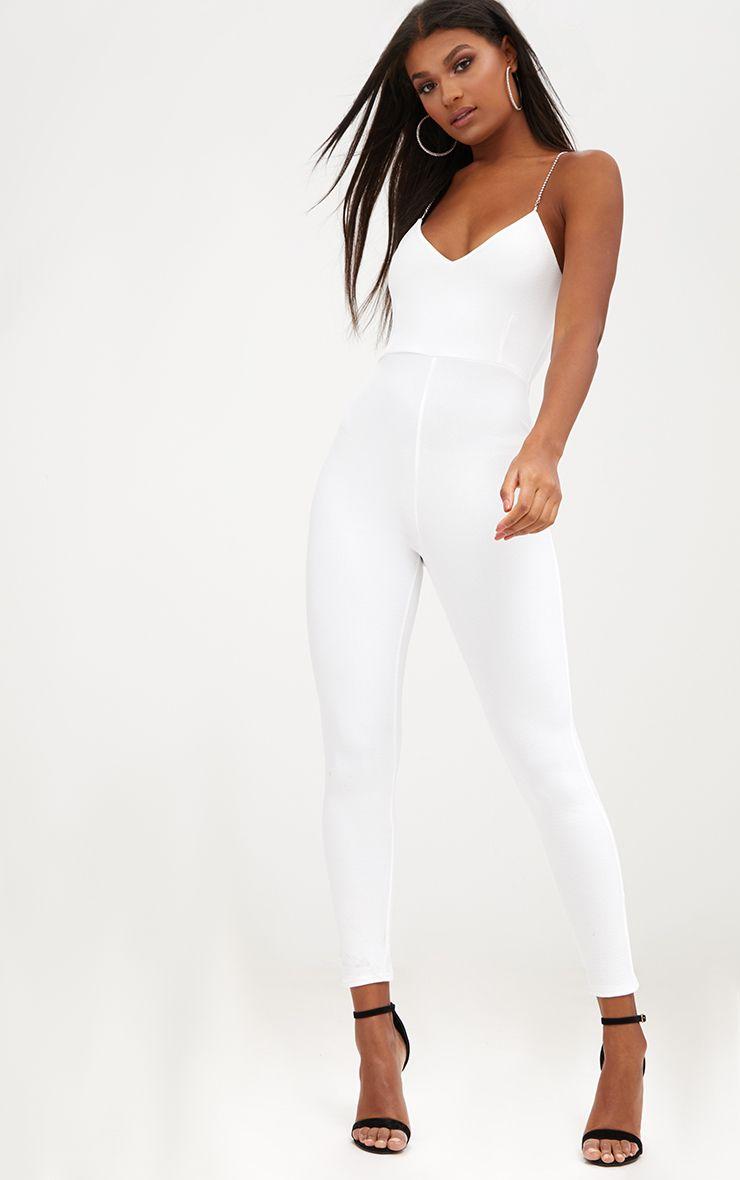 White Diamante Strap Jumpsuit