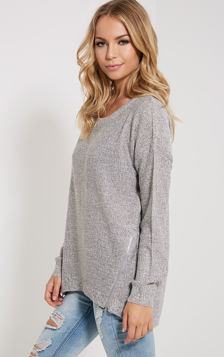 Zari Grey Zip Detail Jumper 1