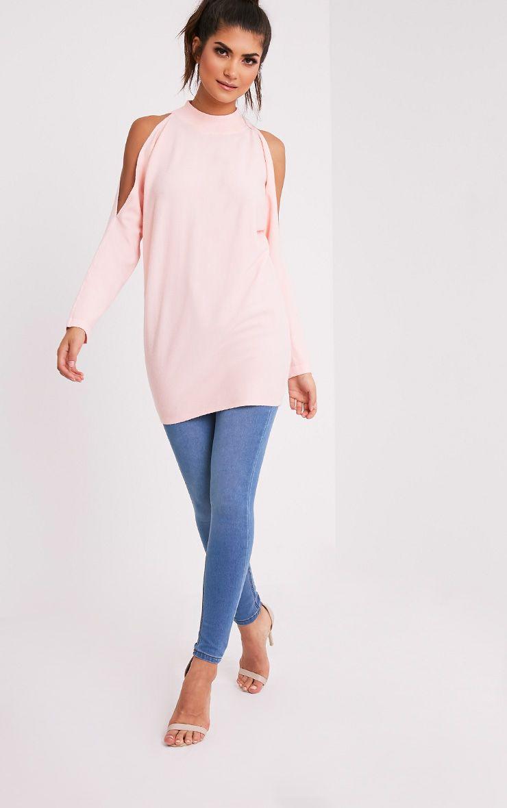 Shela pull rose pâle tricoté fin à épaules découvertes 5