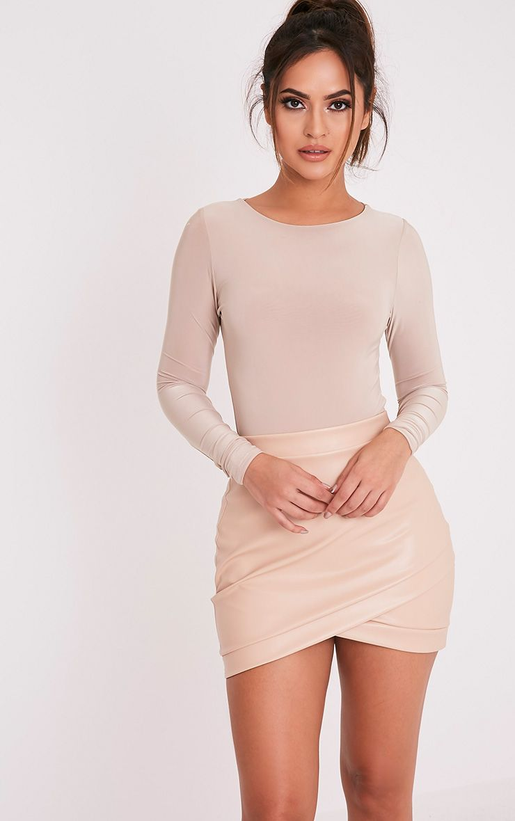 Gabriella Nude Faux Leather Mini Skirt 1