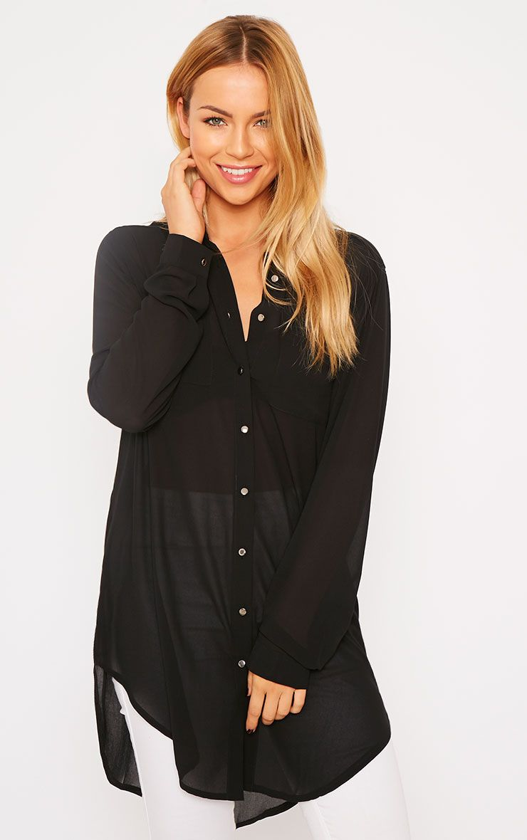 Sofie Black Silver Button Shirt 1