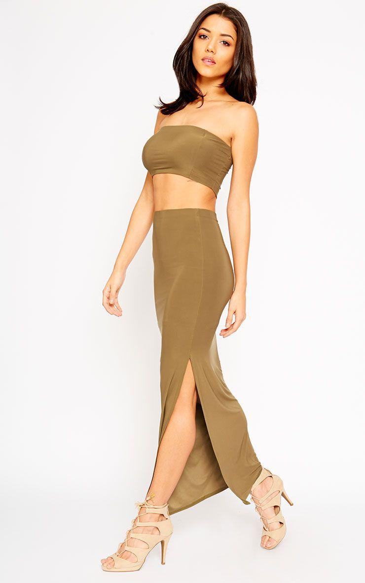 Helsa Khaki Slinky Split Maxi Skirt 1