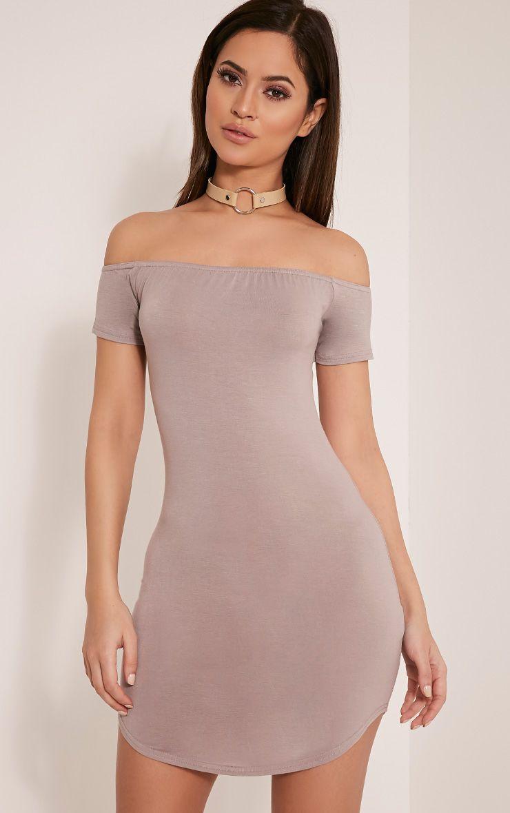 Abigail Taupe Bardot Curved Hem Bodycon Dress 1