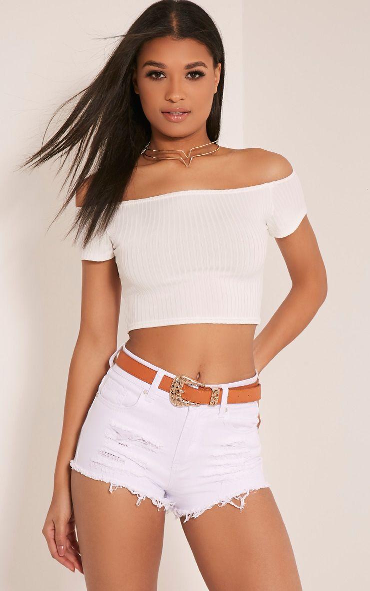 Elana mini-short en jean déchiré blanc