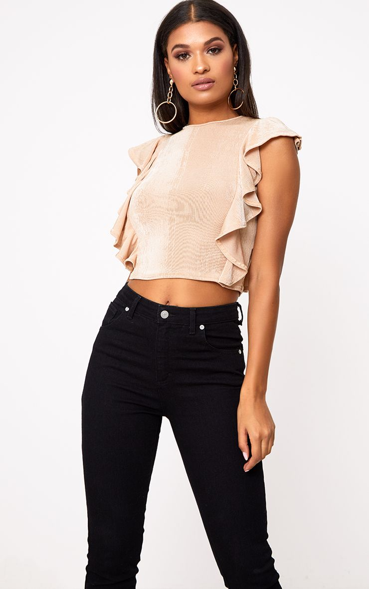 Champagne Frill Shimmer Crew Neck Top