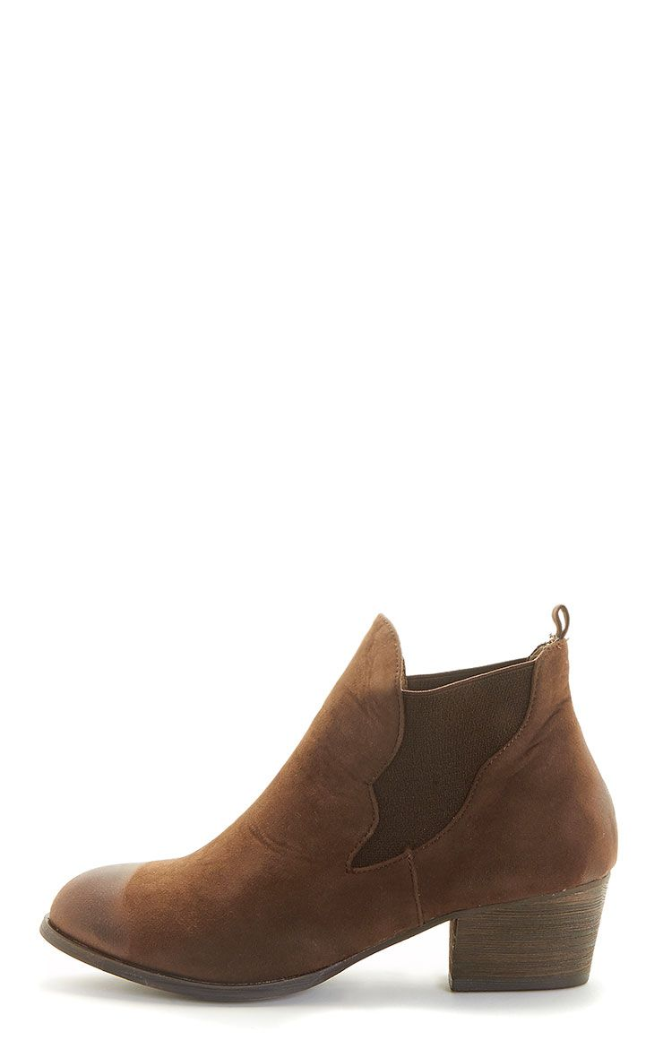 Wilma Brown Suede Slip On Ankle Boots 1