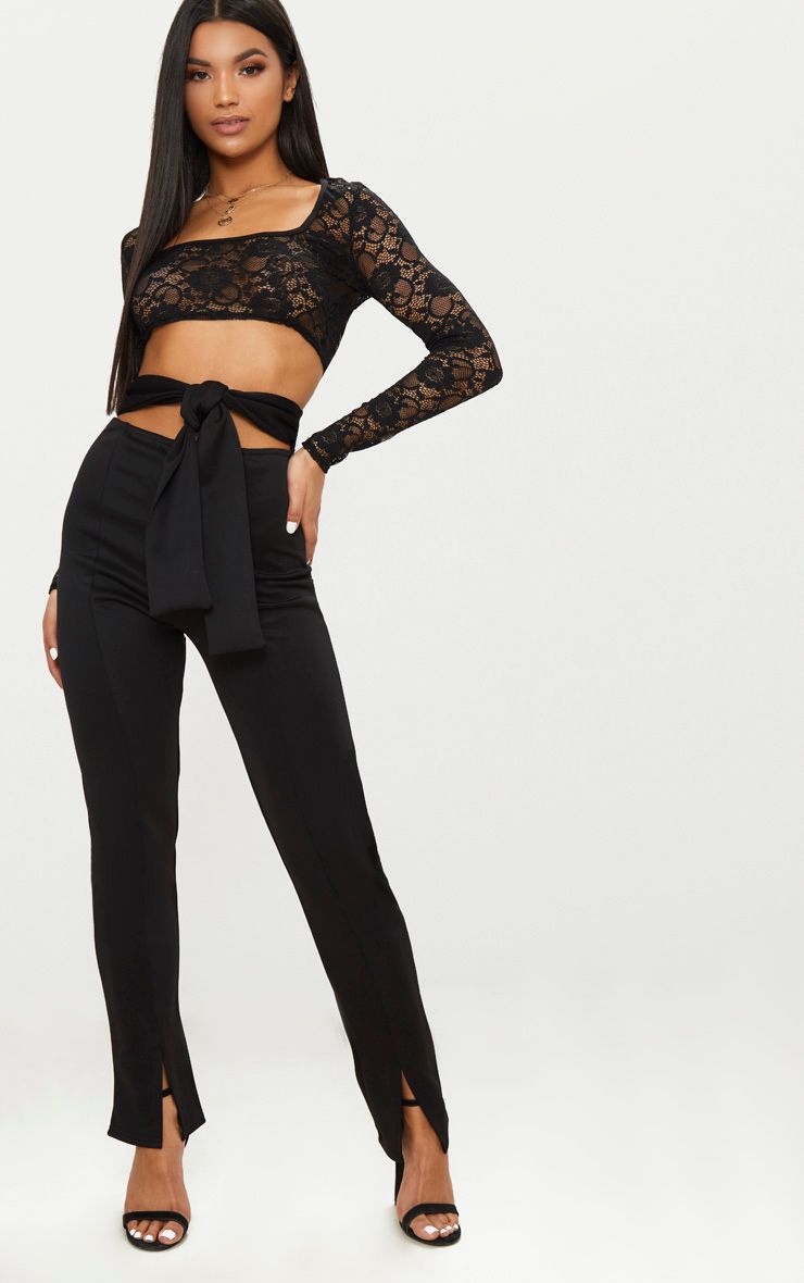 Black Scuba Cut Out Waist Band Tie Skinny Trouser
