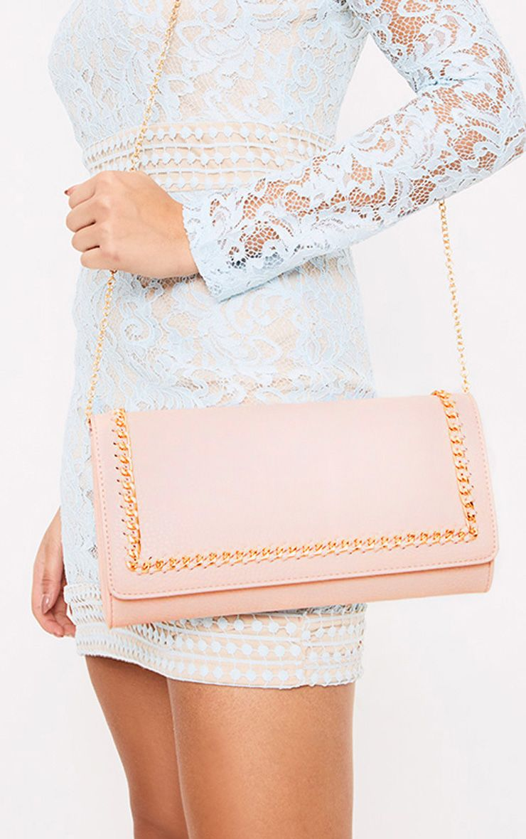 Nude Chain Bordered Bag