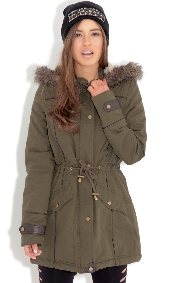 Alka Light Khaki Drawstring Parka Green