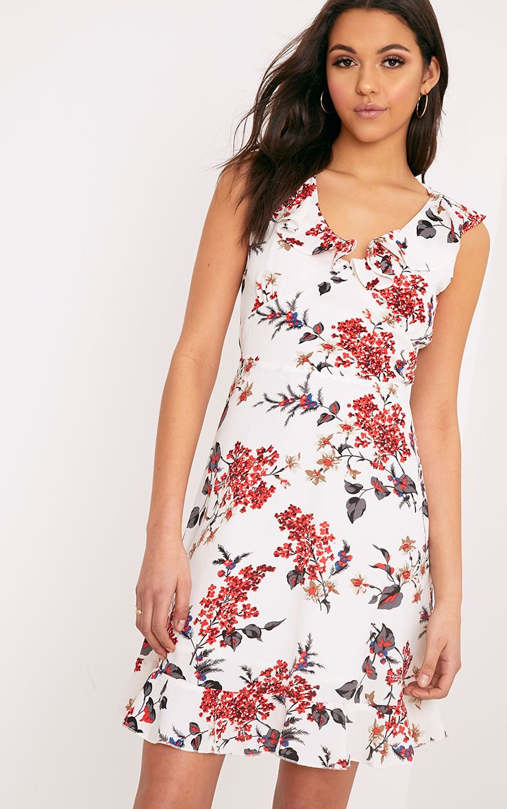Astrid White Floral Printed Midi Dress