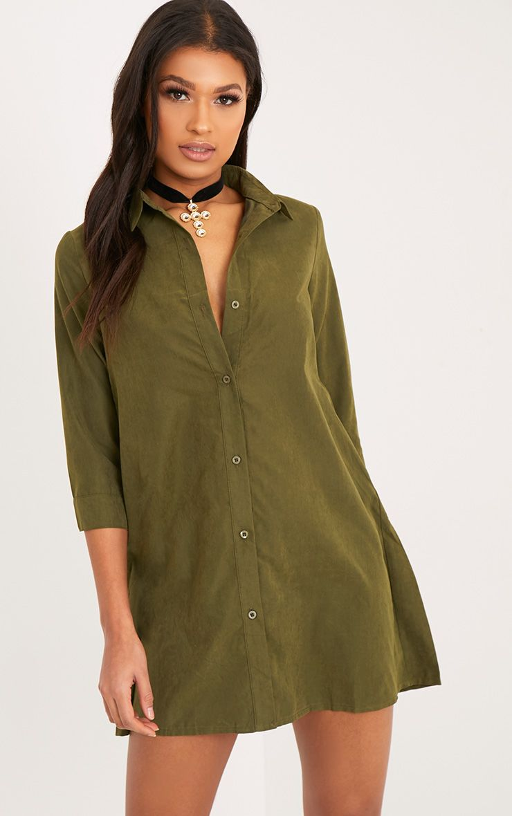 Leni Khaki Shirt Dress 1