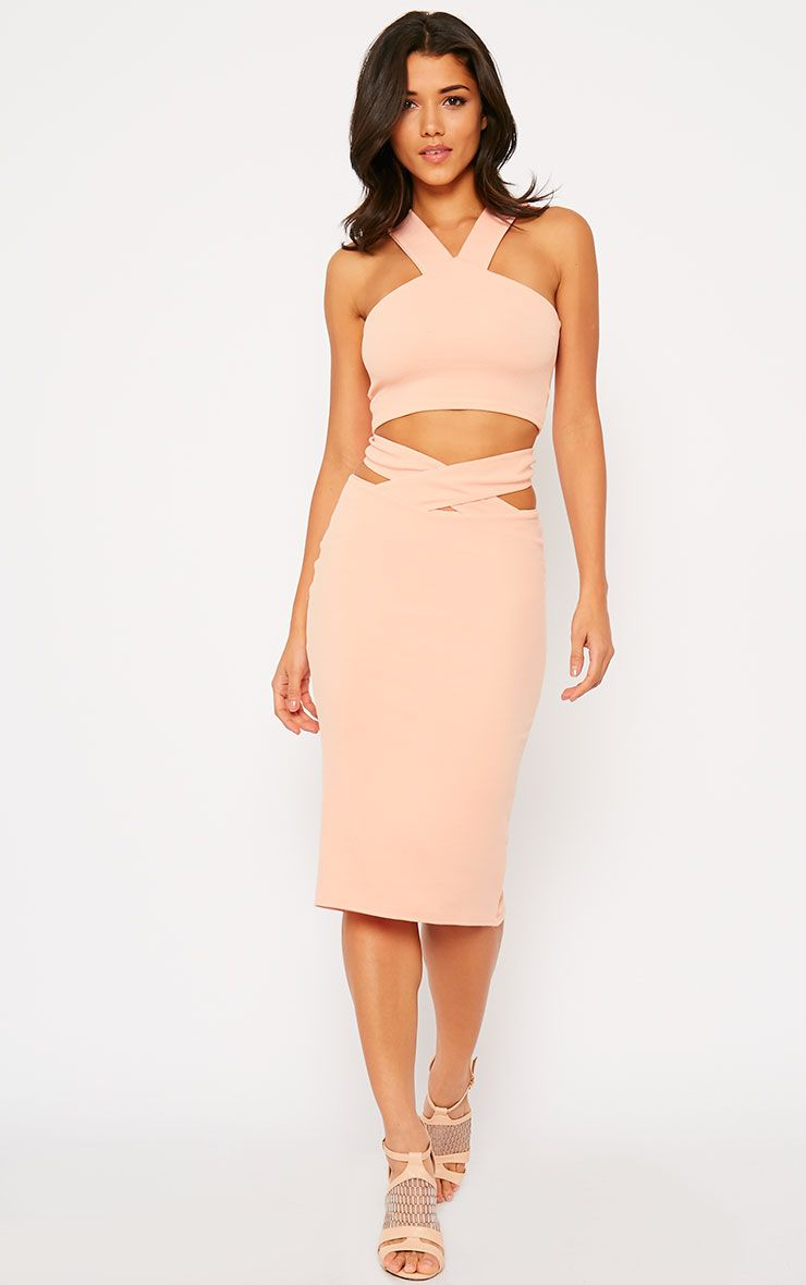 Shanel Nude Cut Out Midi Skirt 1