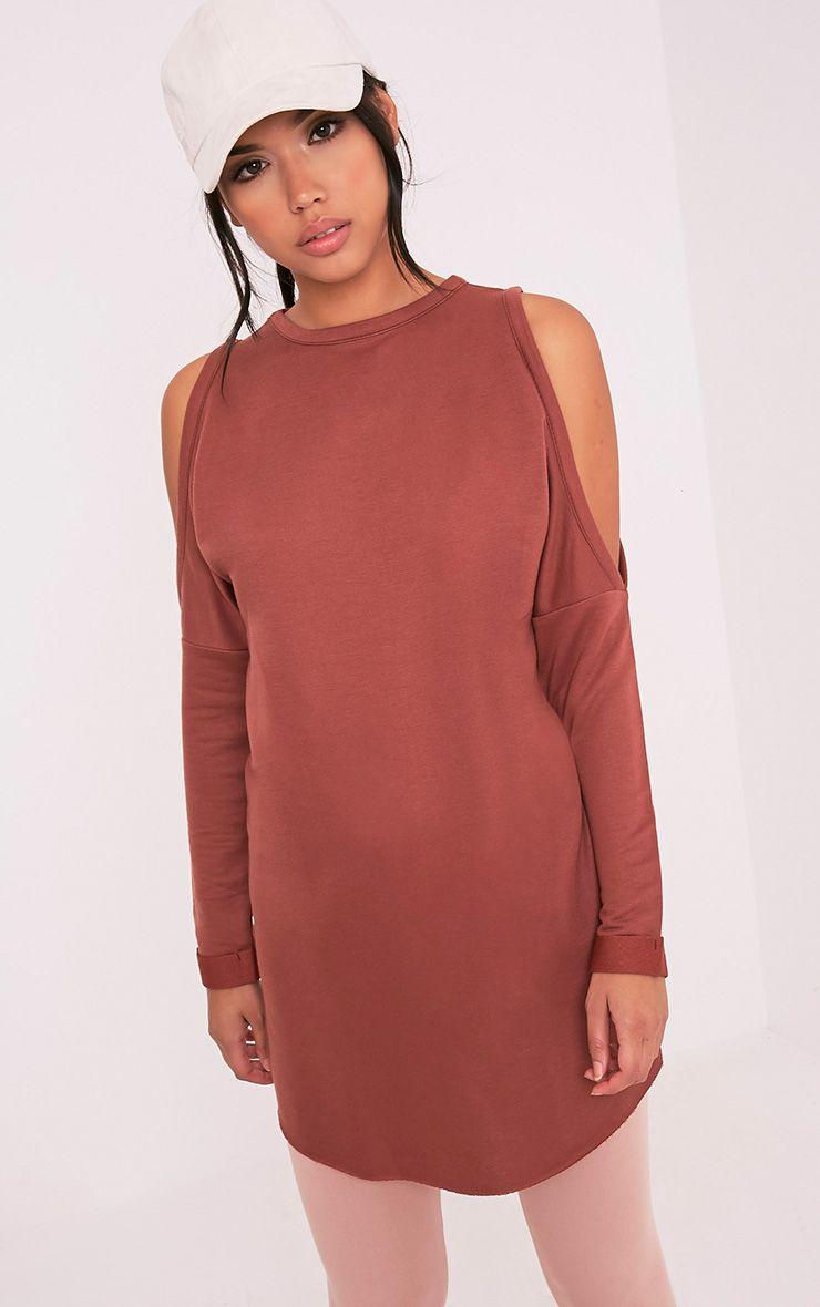 Milene Brown Cold Shoulder Sweater Dress