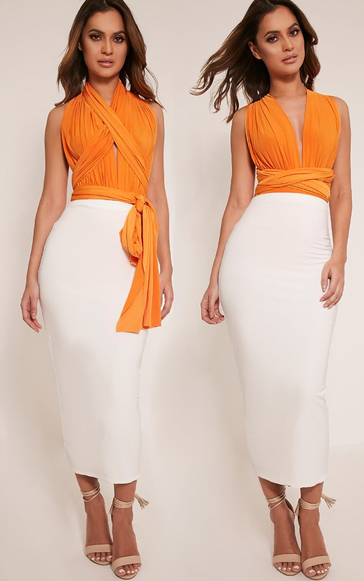 Liddia Bright Orange Multiway Bodysuit 1