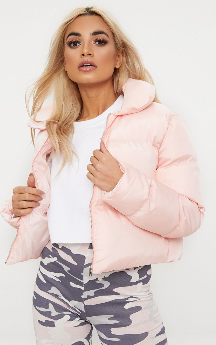 Baby Pink Cropped Puffer Jacket 1