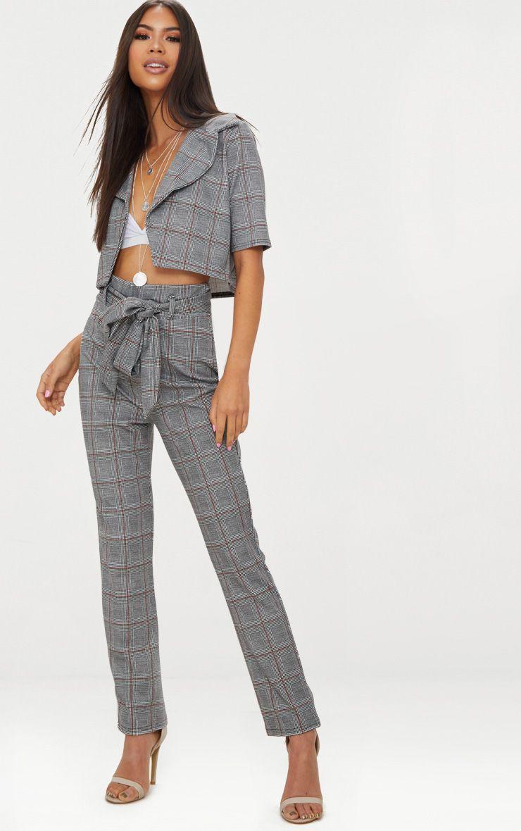 Black Check Tie Waist Cigarette Trouser 1