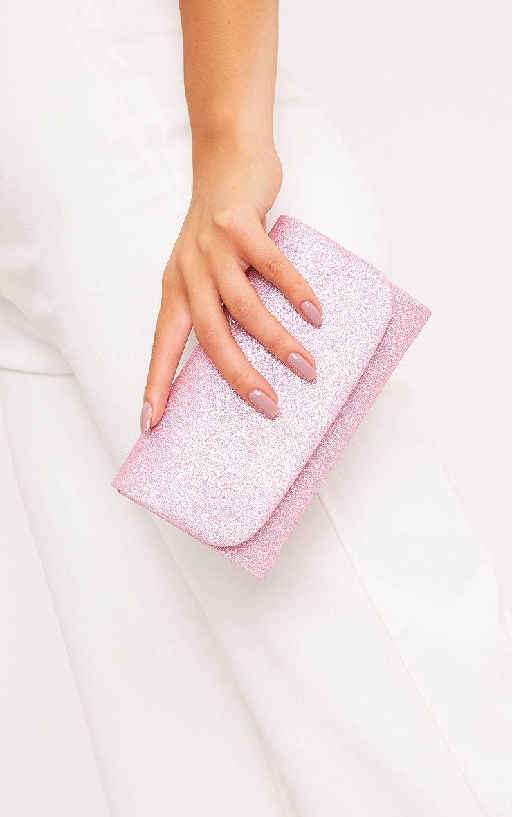 Aipha Pink Fold Over Glitter Clutch