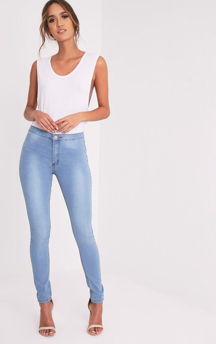 Kylie Light Wash High Waisted Skinny Jean