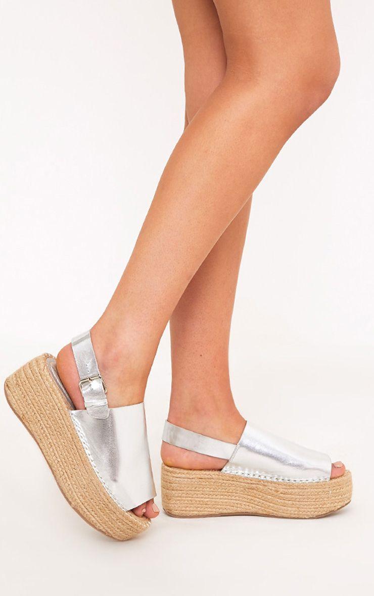 Kendyl Silver Flatform Sandals