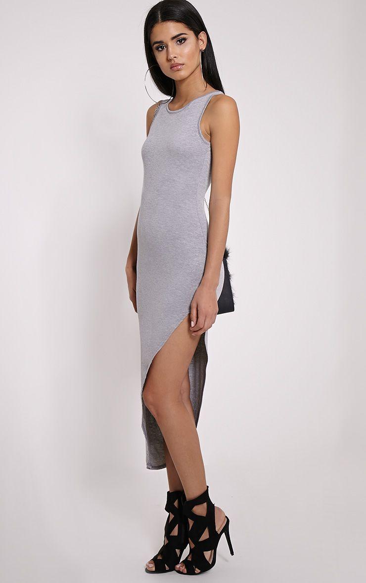 Rayne Grey Marl Asymmetric Jersey Scoop Back Dress 1