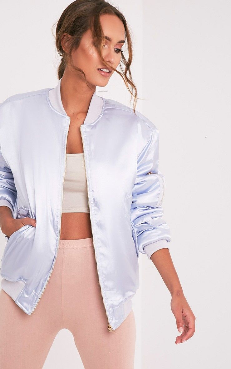 Cruz Light Grey Satin Oversized Bomber Jacket 1